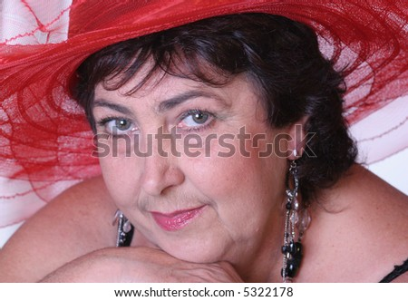 portrait of a woman in hat - stock photo