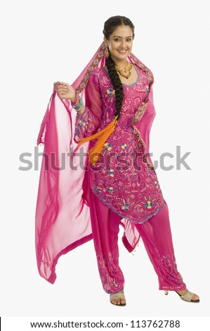 Portrait of a woman in salwar kameez - stock photo