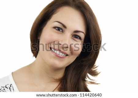 Portrait Of A Woman Laughing, Isolated On White - stock photo