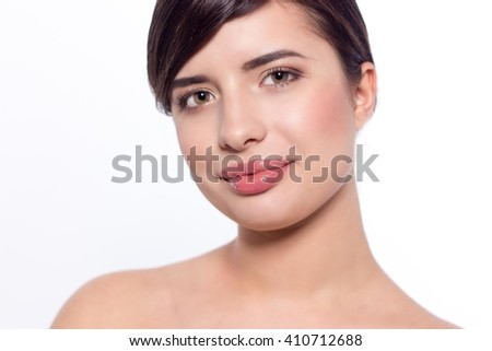 Portrait of a woman on a white background.
