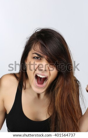 Portrait of a woman screaming