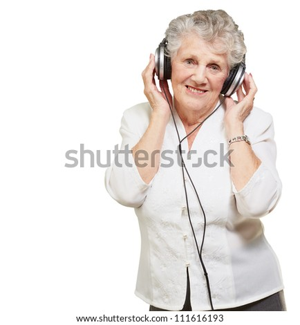 Portrait Of A Woman, While Listening Music On White Background