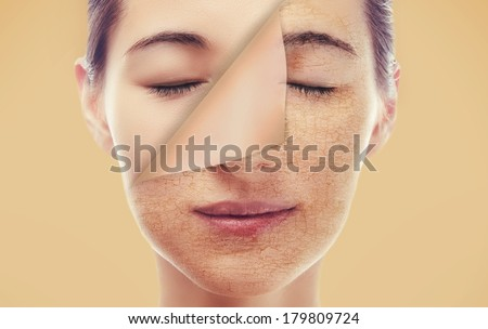 Portrait of a woman with a new smooth skin after peeling, skincare concept - stock photo