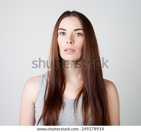 portrait of a woman with braces. - stock photo