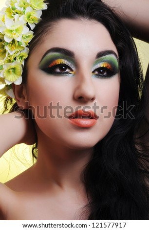 Portrait of a woman with colorful make-up