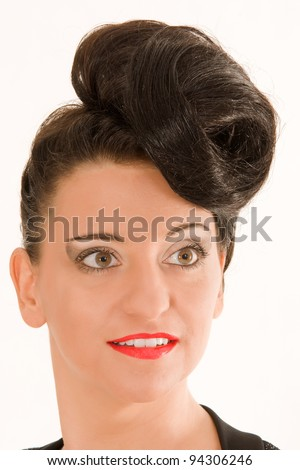 Portrait of a woman with extremely fashionable hairstyle /Extremely fashionable hairstyle - stock photo