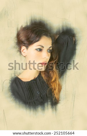 Portrait of a woman with hand drawn effect - stock photo