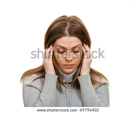 Portrait of a woman with headache. Isolated over white background