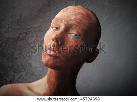 Portrait of a woman with red colored face - stock photo