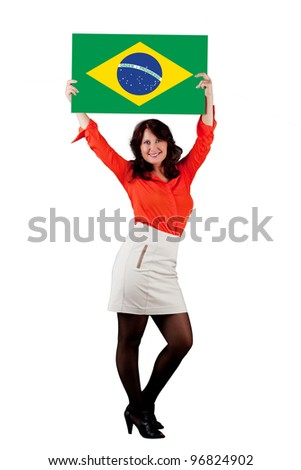 Portrait of a woman with the flag of Brazil