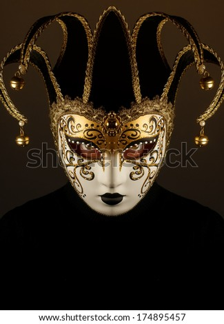 portrait of a woman with Venice mask
