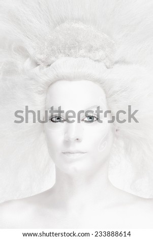 Portrait of a Woman with White Wig Posing as The Snow Queen - stock photo