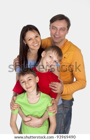 portrait of a wonderful family on a white