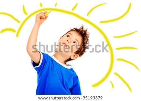 Portrait of a 5 year boy. Isolated over white background. - stock photo