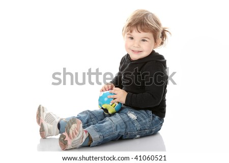 Portrait of a 2 year old girl isolated on white background