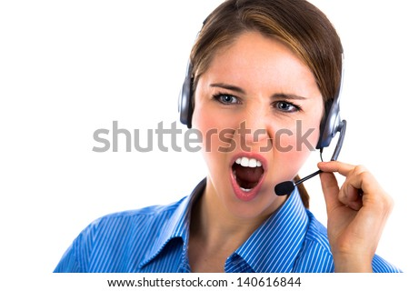 Portrait of a yelling customer representative  - stock photo