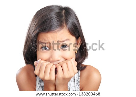 Portrait of a young abused frightened girl. - stock photo