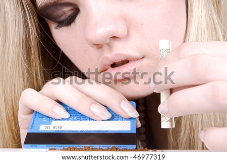 Portrait of a young addict girl - stock photo