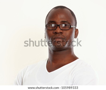 Portrait of a young african american isolated on white background
