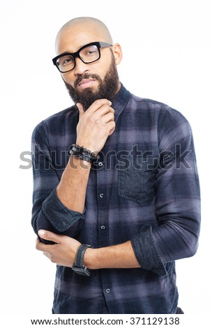 Portrait of a young afro american man thinking isolated on a white background - stock photo