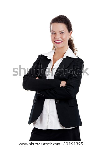 Portrait of a young and beautiful business woman isolated on white - stock photo