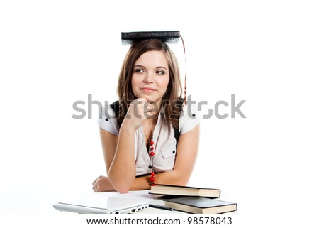 Portrait of a young and beautiful girl student who is preparing for exams