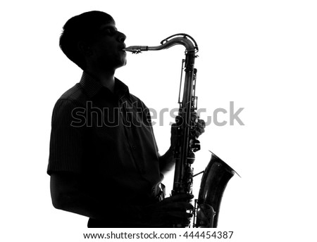 portrait of a young artist with a sax