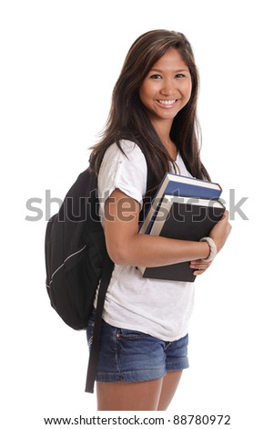 Portrait of a young Asian female college student with books and backpack isolated on a white background