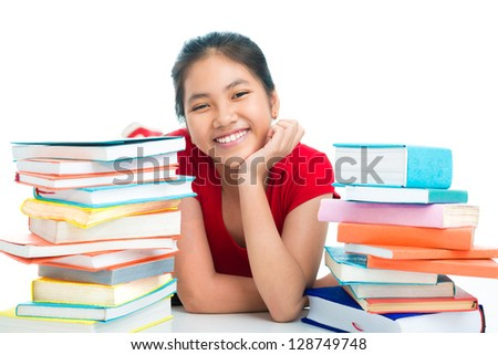Portrait of a young asian pupil isolated on the white background