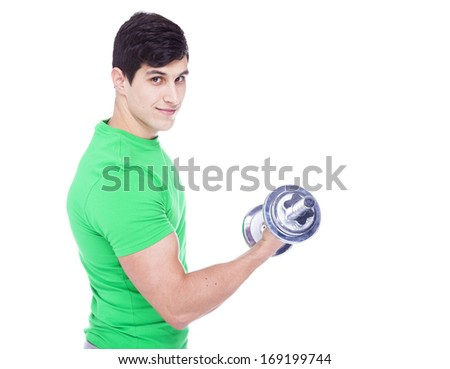 Portrait of a young athletic man lifting weights, isolated over a white background
