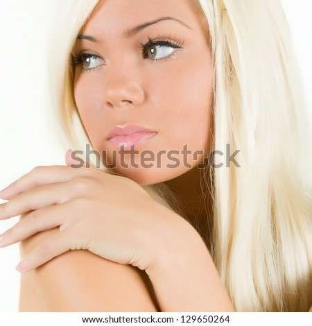 Portrait of a young attractive blonde - stock photo
