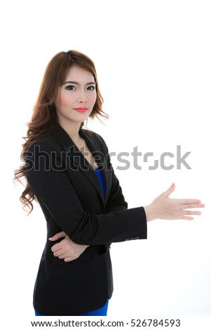 Portrait of a young attractive business woman against white background