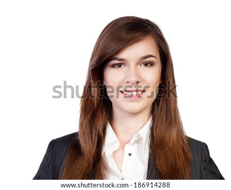 Portrait of a young attractive business woman on white - stock photo