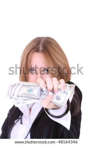 Portrait of a young attractive business woman with 100 dollars bills over white background