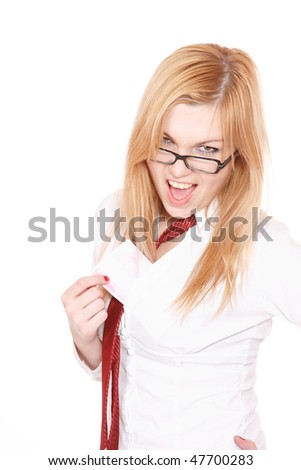 Portrait of a young attractive business woman with euro bills over white background