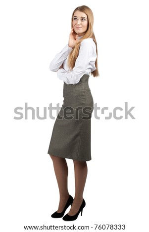 Portrait of a young attractive businesswoman thinking about something, against white background - stock photo