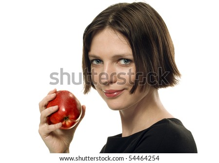 Portrait of a young attractive woman with red apple on white