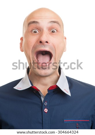 Portrait of a young bald man screaming. Isolated