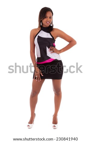Portrait of a young beautiful african american woman - Black people , isolated on white background - stock photo