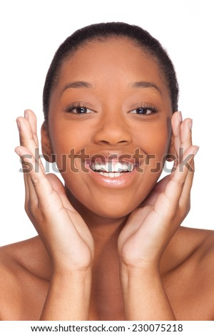 Portrait of a young beautiful african woman, Isolated over white background - stock photo