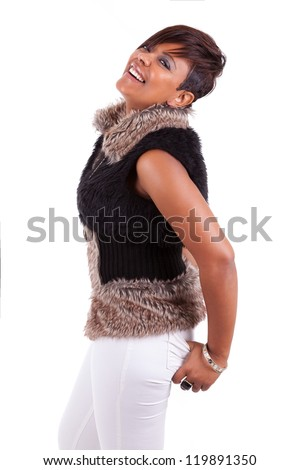 Portrait of a young beautiful black woman laughing, isolated on white background - stock photo