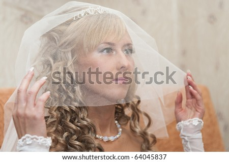 Portrait of a young beautiful bride with blonde curly hair in a white low-necked dress with a veil