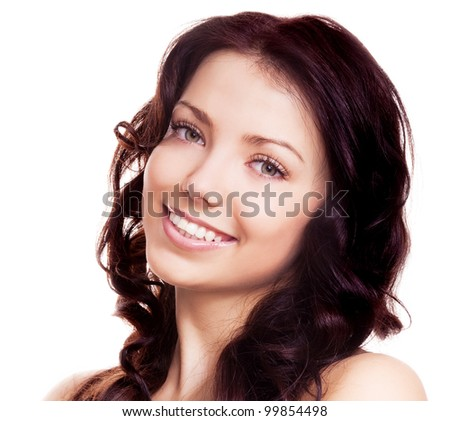 portrait of a young beautiful brunette woman, isolated on white background - stock photo