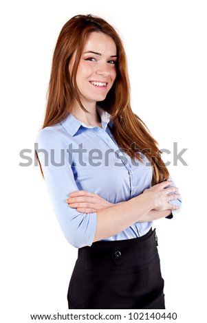 Portrait of a young beautiful  business woman - stock photo