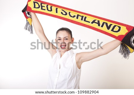 Portrait of a young beautiful girl germany fan. - stock photo