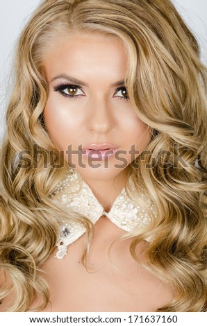 portrait of a young beautiful girl in a glamour style - stock photo