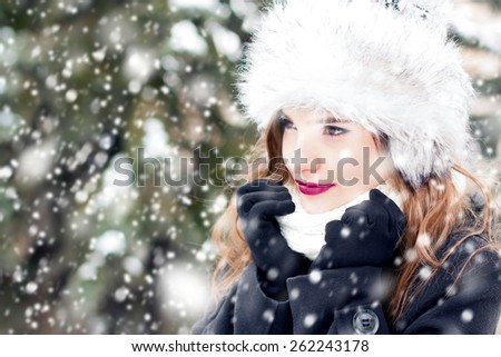 Portrait of a young beautiful woman in snowy weather.