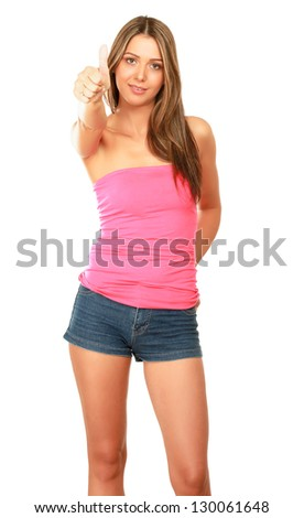 Portrait of a young beautiful woman showing ok, isolated on white background