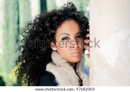 Portrait of a young black woman, model of fashion - stock photo