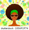 Portrait of a young black woman on a festive background, model of fashion, illustration - stock photo